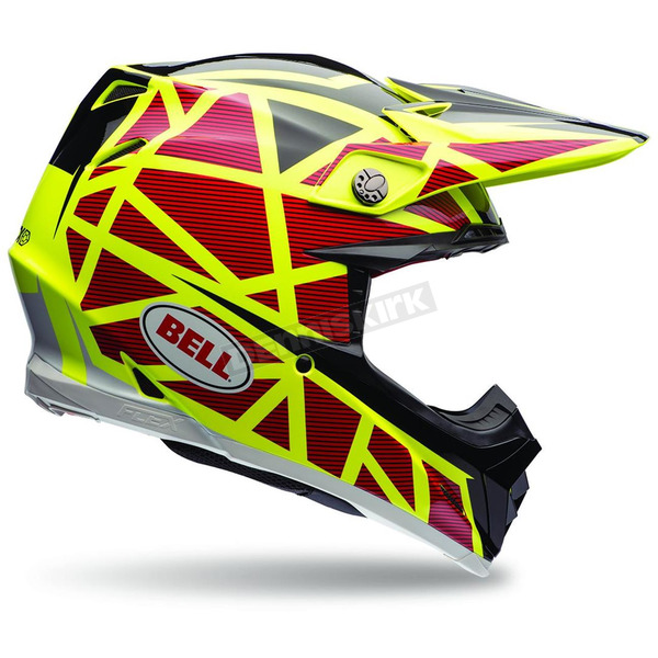 Bell Helmets Yellow/Red Moto-9 Carbon Flex Strapped Helmet - 7069278