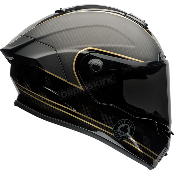 Bell Helmets Matte Black/Gold Ace Cafe Speed Check Race Star Helmet - 7069588