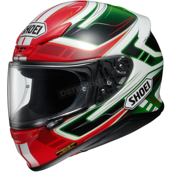 Shoei Helmets Red/White/Green RF-1200 Vakyrie TC-4 Helmet - 0109-2304-04