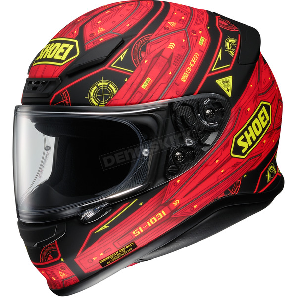 Shoei Helmets Red/Black/Yellow RF-1200 Vessel TC-1 Helmet - 0109-2401-04
