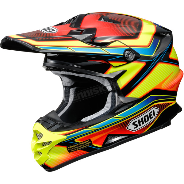 Shoei Helmets Red/Yellow/Blue VFX-W Capacitor TC-3 Helmet - 0145-9003-05