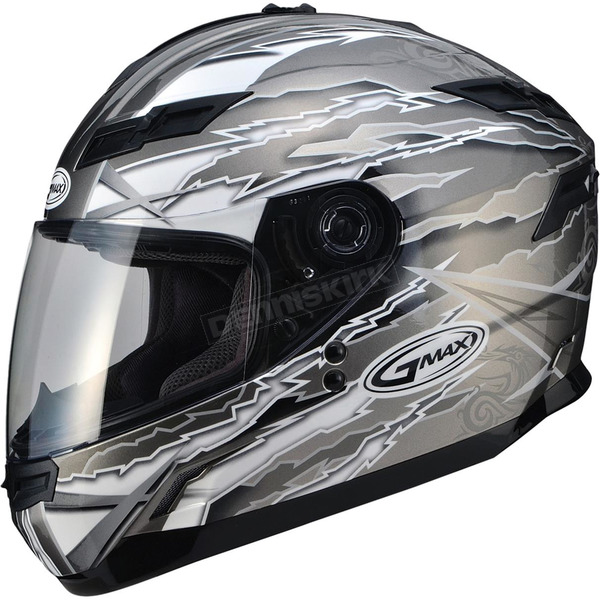 GMax Titanium/White/Black GM78S Firestarter Full Face Helmet - 72-49162X