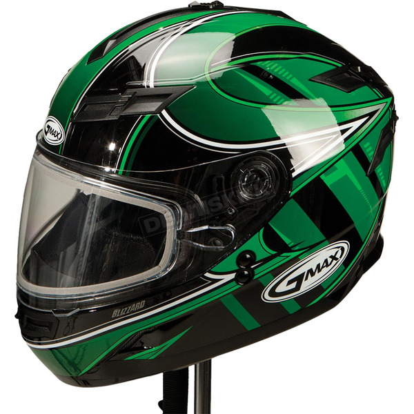 GMax Green/Silver/White GM78S Blizzard Snowmobile Helmet with Dual Lens Shield - 72-6234XS