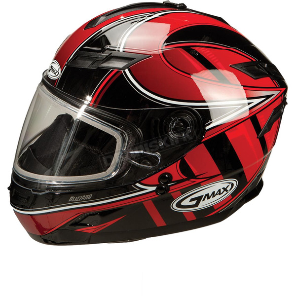 GMax Red/Silver/White GM78S Blizzard Snowmobile Helmet with Dual Lens Shield - 72-62312X