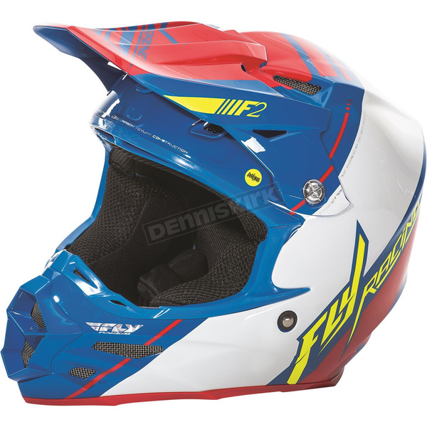 Fly Racing Blue/White/Red F2 Carbon MIPS Canard Replica Helmet - 73-4096S