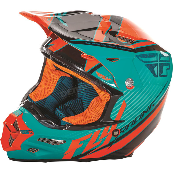 Fly Racing Teal/Orange/Black F2 Carbon Fastback Helmet - 73-41152X