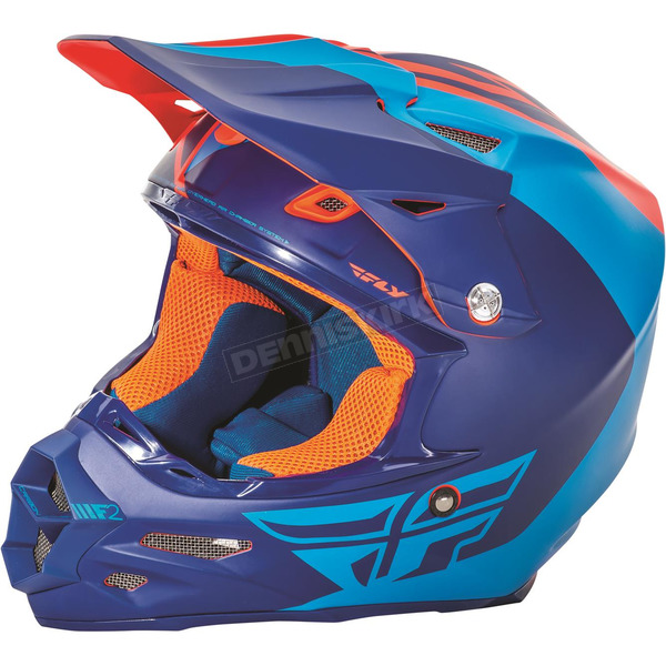 Fly Racing Matte Blue/Orange F2 Carbon Pure Helmet - 73-4123S