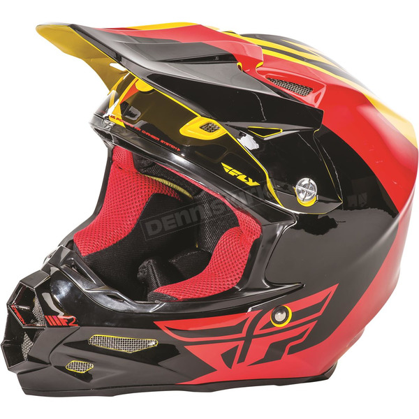 Fly Racing Yellow/Black/Red F2 Carbon Pure Helmet - 73-4124XS
