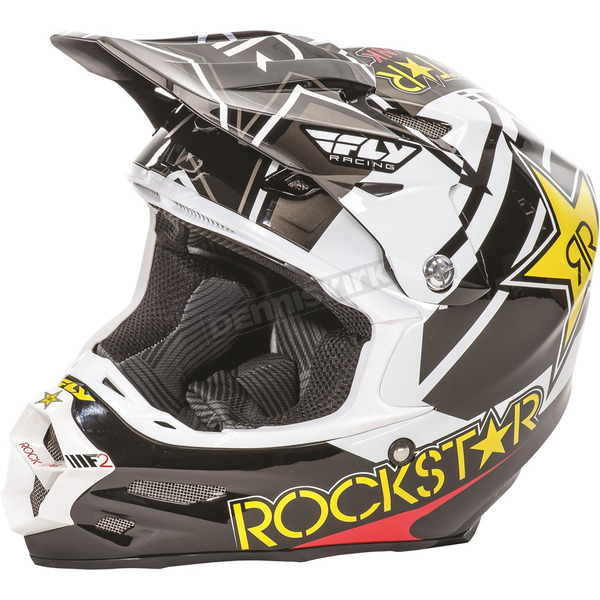 Fly Racing Black/White/Yellow F2 Carbon Rockstar Helmet - 73-4075L
