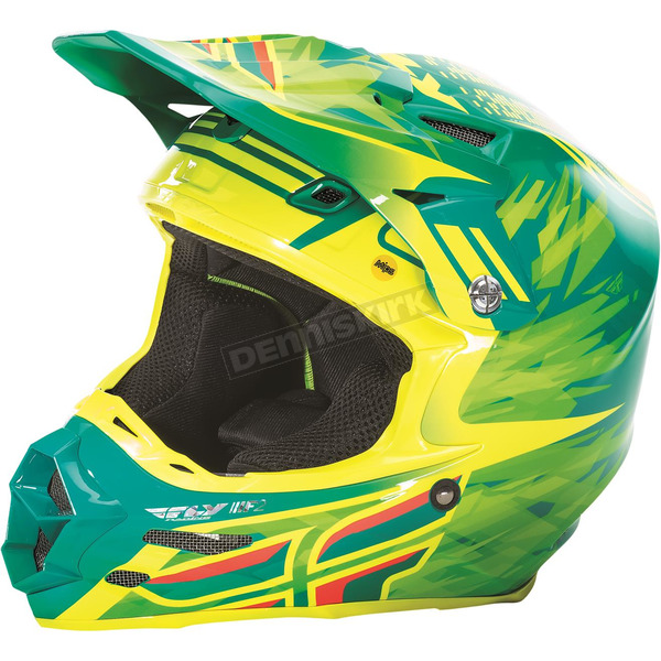 Fly Racing Teal/Hi-Vis Yellow F2 Carbon MIPS Shorty Replica Helmet - 73-4086S