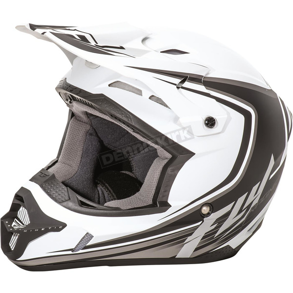 Fly Racing Youth Matte White/Black Kinetic Fullspeed Helmet - 73-3371YS