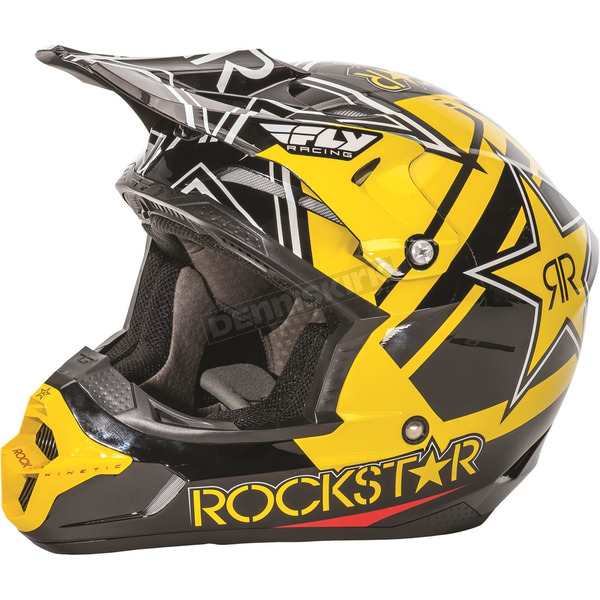 Fly Racing Black/Yellow Kinetic Pro Rockstar Helmet - 73-3307L