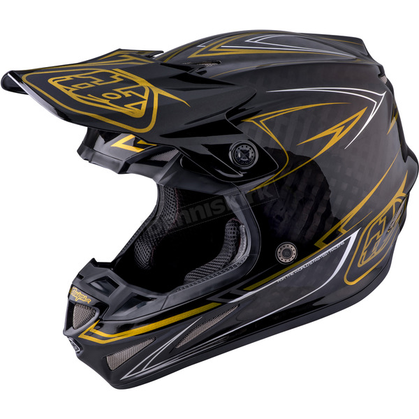 Troy Lee Designs Black/Gold Pinstripe SE4 Carbon Helmet - 102018101