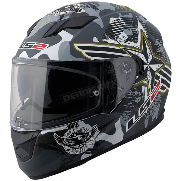 LS2 Black/Grey/Green/White Veteran 2 Stream FF328 Full Face Helmet with Sunshield - 328-1205