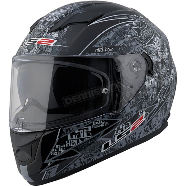 LS2 Black/Gray/White Anti-Hero Stream FF328 Full Face Helmet w/Sunshield - 328-1324