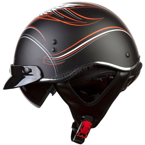 LS2 Black/Orange/White/Gray Crazy SC3 Half Helmet with Sunshield - 566-1213