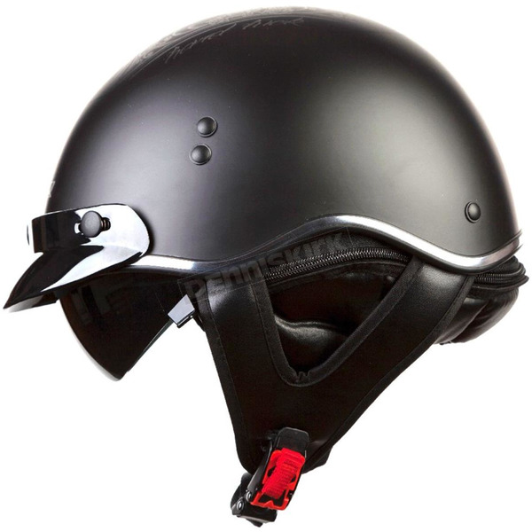LS2 Black/Gray Hard Luck SC3 Half Helmet with Sunshield - 566-1246