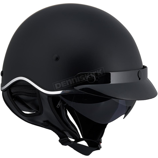 LS2 Matte Black SC3 Half Helmet with Sunshield - 566-1256
