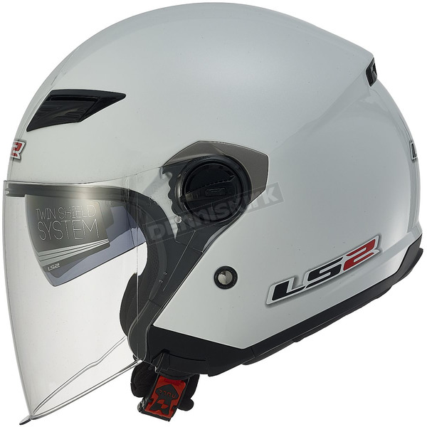 LS2 Pearl White OF569 Track Helmet with Sunshield - 569-3042
