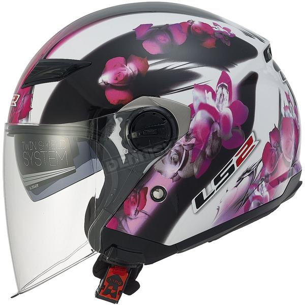 LS2 Womens Pink/White/Black Floral OF569 Track Helmet with Sunshield - 569-3104