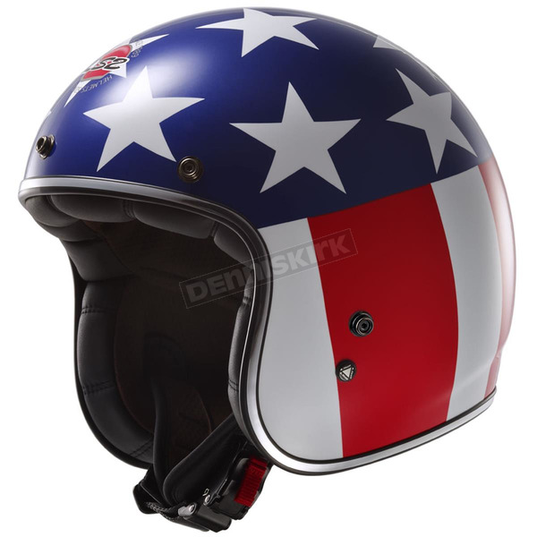 LS2 Red/White/Blue Easy Rider Kurt Bobber OF588 Open Face Helmet  - 588-1025