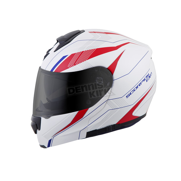 Scorpion White/Red/Blue EXO-GT3000 Sync Modular Helmet - 300-1037