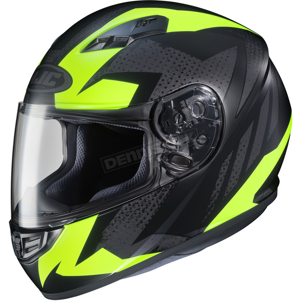 HJC Flat Black/Hi-Vis Yellow MC-3HF CS-R3 Treague Helmet - 134-832