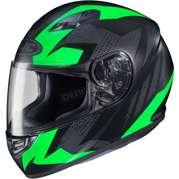 HJC Flat Black/Green MC-4F CS-R3 Treague Helmet - 134-846
