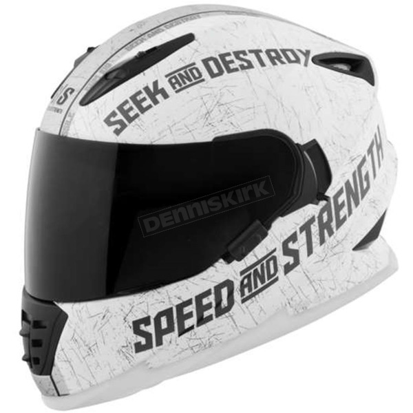 Speed and Strength Matte White/Silver Cruise Missile SS1600 Helmet - 876187
