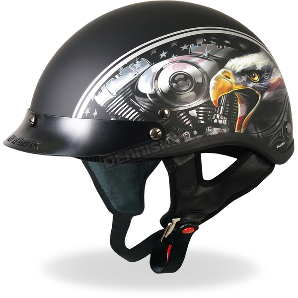 Hot Leathers Matte Black American Eagle Helmet - HLD1023S
