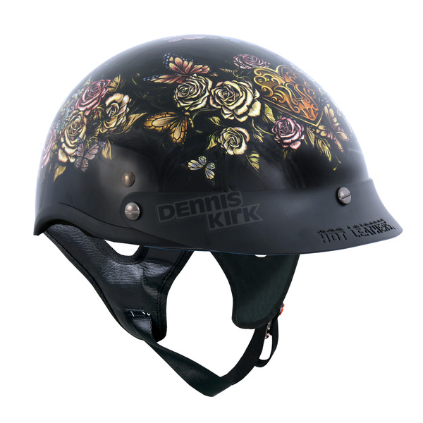 Hot Leathers Women's Black Key Lock Heart Helmet - HLD1034S
