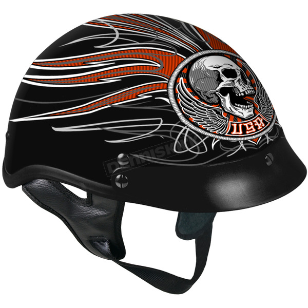 Hot Leathers Black Stitches Helmet - HLD1033S