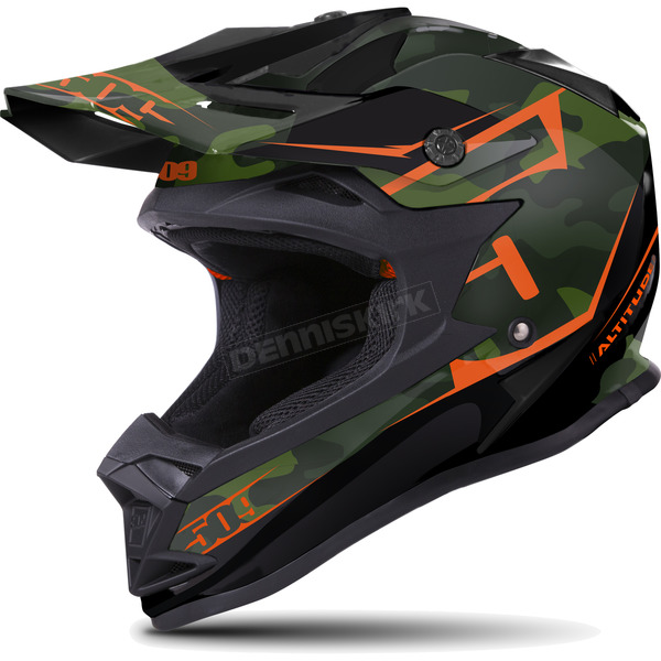 509 Matte Black/Green/Orange Camo Altitude Helmet - 509-HEL-ACA-SM