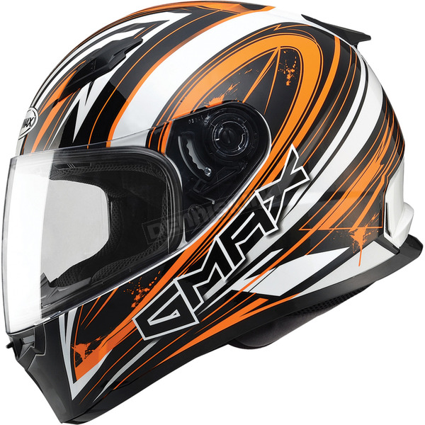 GMax White/Hi-Viz Orange/Black FF49 Warp Street Helmet - G7491697 TC-26