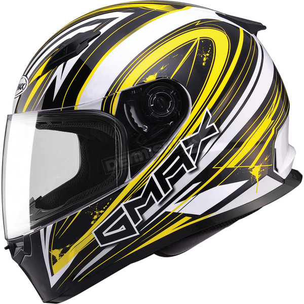 GMax White/Yellow/Black FF49 Warp Street Helmet - G7491238 TC-4
