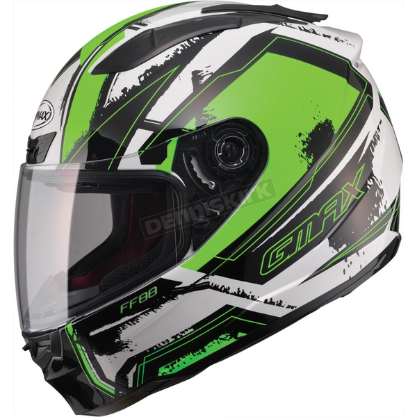 GMax White/Hi-Viz Green/Black FF88 X-Star Helmet - 72-4775X
