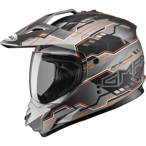 GMax Flat Black/Hi-Viz Orange GM11D Adventure Dual Sport Helmet - G5117694 TC-26