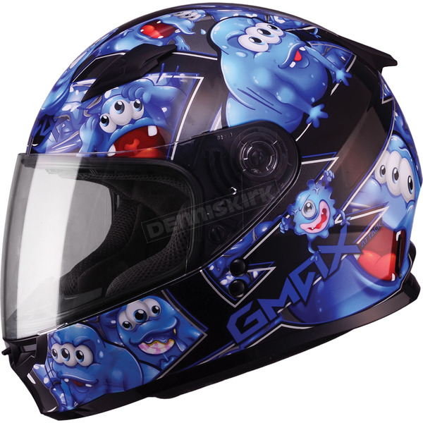 GMax Youth Black/Blue GM49Y Attack Street Helmet - G7494210