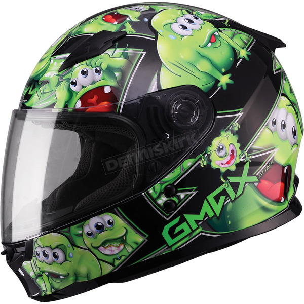GMax Youth Black/Green GM49Y Attack Street Helmet - G7494222