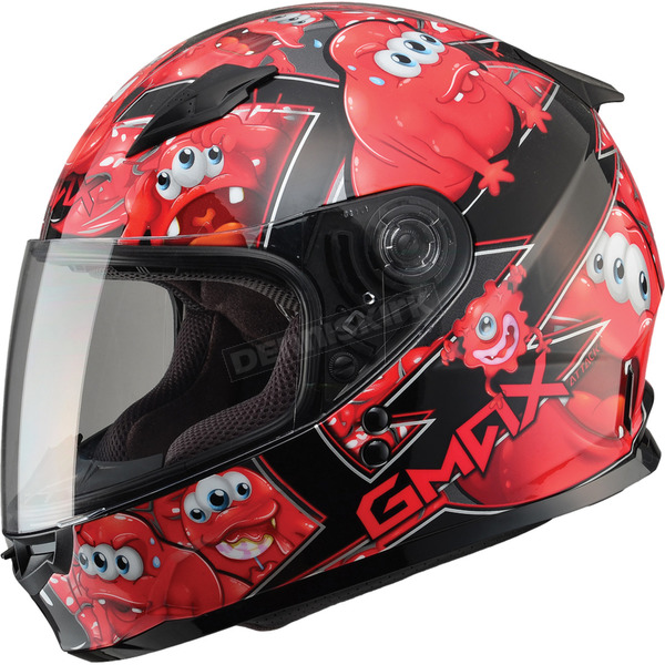 GMax Youth Black/Red GM49Y Attack Street Helmet - G7494202