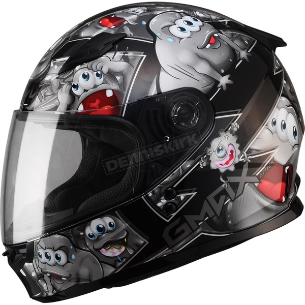 GMax Youth Black/Silver GM49Y Attack Street Helmet - G7494240