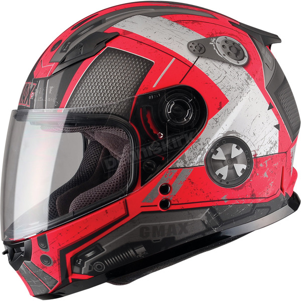 GMax Youth Flat Red/Dark Silver GM49Y Trooper Street Helmet - G7495201 TC-1F