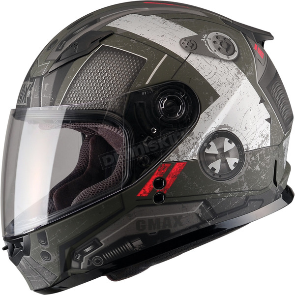 GMax Youth Flat OD Green/Black/Red GM49Y Trooper Street Helmet - G7495710 TC-3F