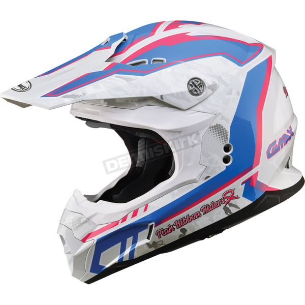 GMax White/Pink/Blue MX86 Pink Ribbon Helmet - 72-6850XS