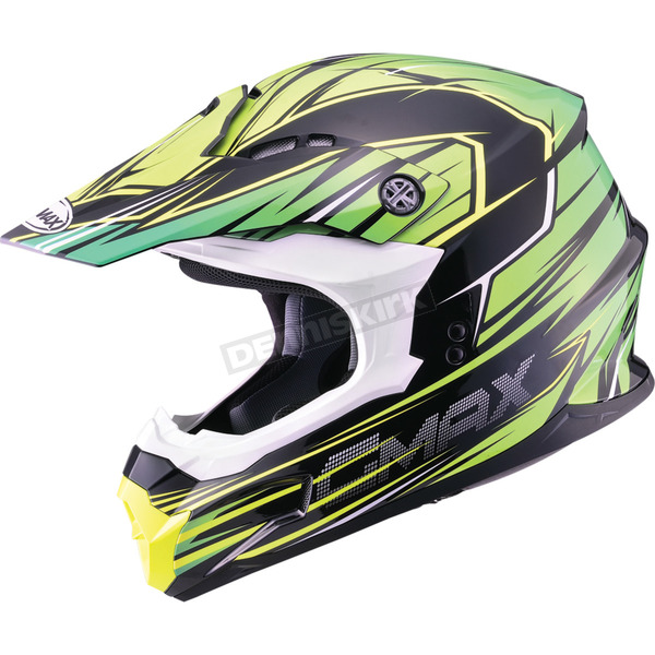 GMax Black/Green/Hi-Viz Yellow MX86 Raz Helmet - 72-6854S