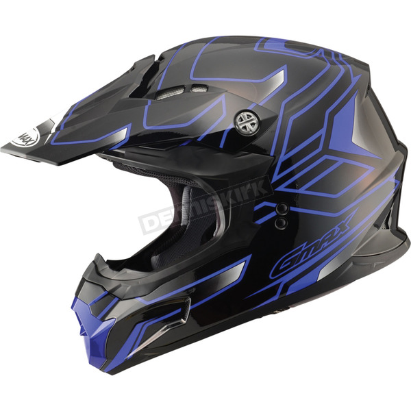 GMax Black/Blue MX86 Step Helmet - 72-6843X
