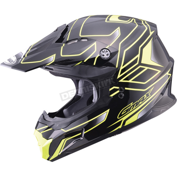 GMax Black/Hi-Viz Yellow MX86 Step Helmet - 72-68443X