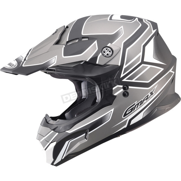 GMax Flat Black/Dark Silver MX86 Step Helmet - 72-6847S