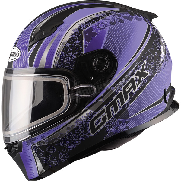 GMax Flat Black/Purple FF49 Elegance Snowmobile Helmet w/Dual Lens Shield - 72-63183X