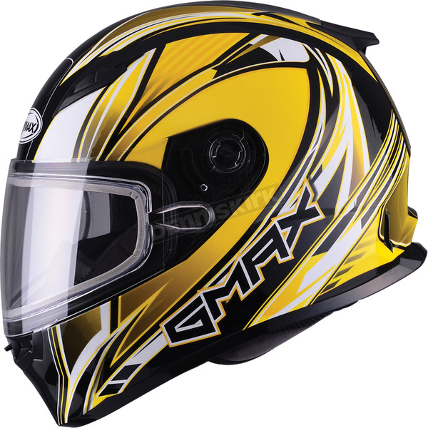 GMax Yellow/White/Black FF49 Sektor Snowmobile Helmet - 72-63053X